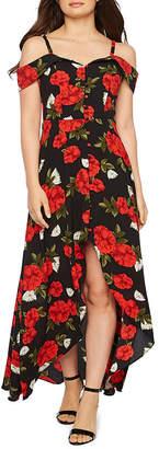 PREMIER AMOUR Premier Amour Short Sleeve Cold Shoulder Floral Maxi Dress