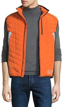 Emporio Armani Men's EA7 Quilted Zip-Front Vest, Orange/Yellow