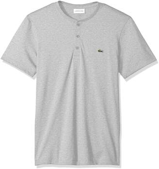 Lacoste Men's Short Sleeve Henley Jersey Pima T-Shirt, Th0884, Silver/Grey Chine