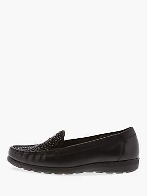 Gabor Strobe Stud Embellished Loafers, Black Leather
