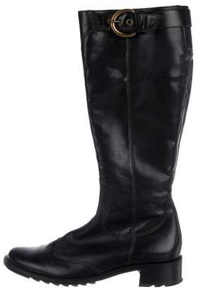 Paul Green Leather Round-Toe Knee-High Boots