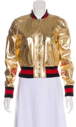 Gucci 2016 Leather Bomber Jacket