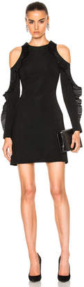 David Koma Ruffled Long Sleeve Open Shoulder Dress