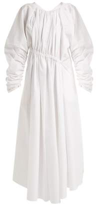 Jil Sander Gathered Asymmetric Cotton Dress - Womens - White