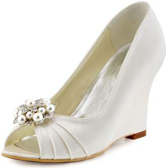 744c069ecdc Elegantpark WP1549 Women Wedding Shoes Peep Toe AE01 Removable Shoe Clips  Satin Bridal Wedges US 10
