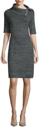 LIZ CLAIBORNE Liz Claiborne Short Sleeve Zip Cowl Neck Sweater Dress $29.99 thestylecure.com