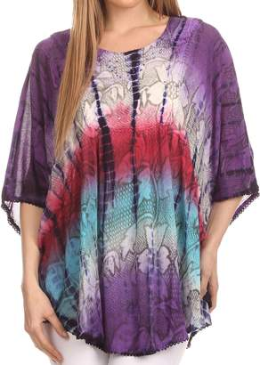 Blue & Cream Sakkas 14031 - Ellesa Ombre Tie Dye Circle Poncho Blouse Shirt Top With Sequin Embroidery - Purple/Cream - OS