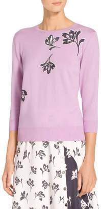 St. John Falling Flower Jersey Knit Sweater