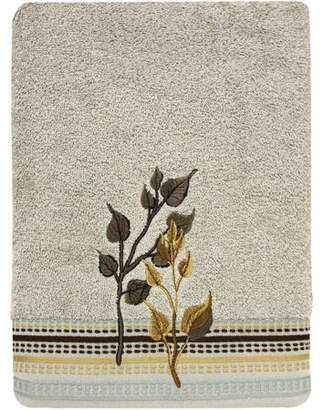 "Bacova Guild Birch Reflections Embroidered Leaves Dark Beige 25"" x 50"" Bath Towel"