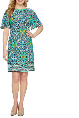 LONDON STYLE Short Sleeve Geometric Shift Dress-Petite