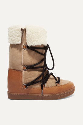 8259779b691d Isabel Marant Nowly Shearling-lined Textured-leather And Suede Snow Boots -  Camel