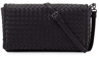 Bottega Veneta Small Intrecciato Flap Clutch Bag w/Strap, Black