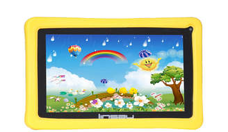LINSAY 7 Kids Funny QUAD CORE TAB Android 6.0 8GB DUAL CAM with Yellow Kids Defender Protective Case