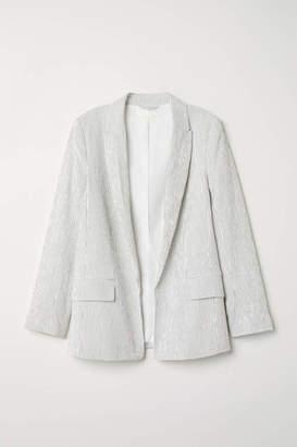 H&M Textured-weave Jacket - White/black striped - Women