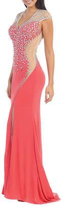 Asstd National Brand Cap Sleeve Stretchy Prom Dress