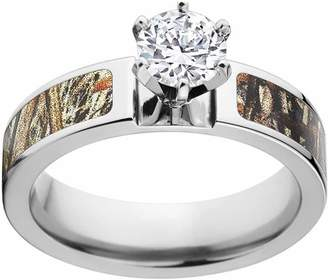 Mossy Oak Duckblind Camo 1 Carat T.G.W. Round CZ in 14kt White Gold Prong Setting Cobalt Engagement Ring with Polished Edges and Deluxe Comfort Fit