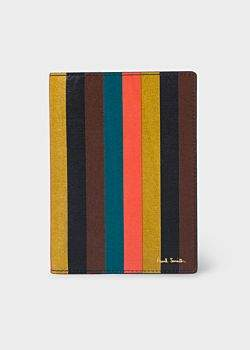 Paul Smith 'Bright Stripe' Leather Passport Cover