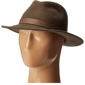 Country Gentleman Bryson Drop Brim Fedora with Leather Trim Caps