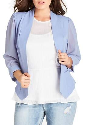 City Chic Plus Sheer-Sleeve Blazer
