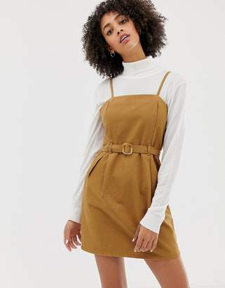 Asos DESIGN denim strappy dress with belt in toffee