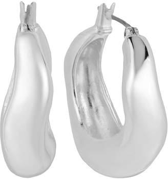 Robert Lee Morris Soho Earrings, Silver-Tone Sculptural Small Hoop Earrings
