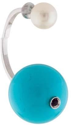 Delfina Delettrez 18K Pearl, Turquoise & Amethyst Stone Edge Earring