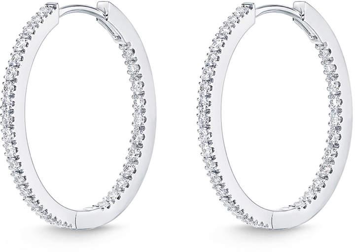 Memoire Diamond Eternity Hoop Earrings in 18K White Gold