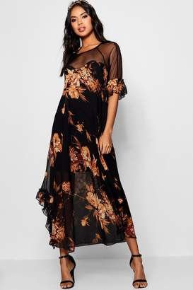boohoo Boutique Fiona Floral Ruffle Maxi Dress