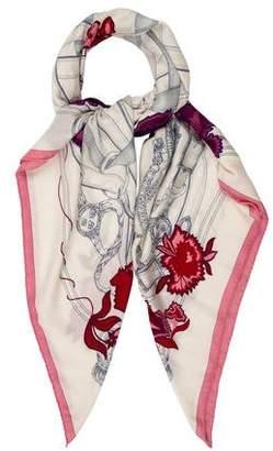 Hermes Cavalcadour Fleuri Cashmere Silk Shawl