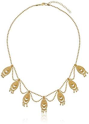 18k Gold Over Fine Silver Plated Bronze Indian Ethnic Necklace