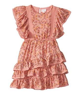 BCBGMAXAZRIA Girls Printed Crepe Dress w/ Lace Trims (Big Kids)