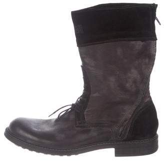 Just Cavalli Leather Round-Toe Boots