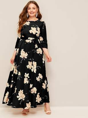 Shein Plus Large Floral Print Self Tie Waist Dress