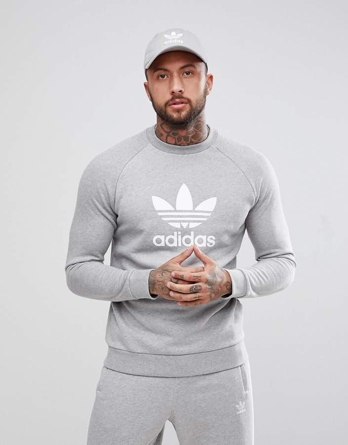 adidas Originals adicolor Trefoil Logo Sweat In Gray CY4573