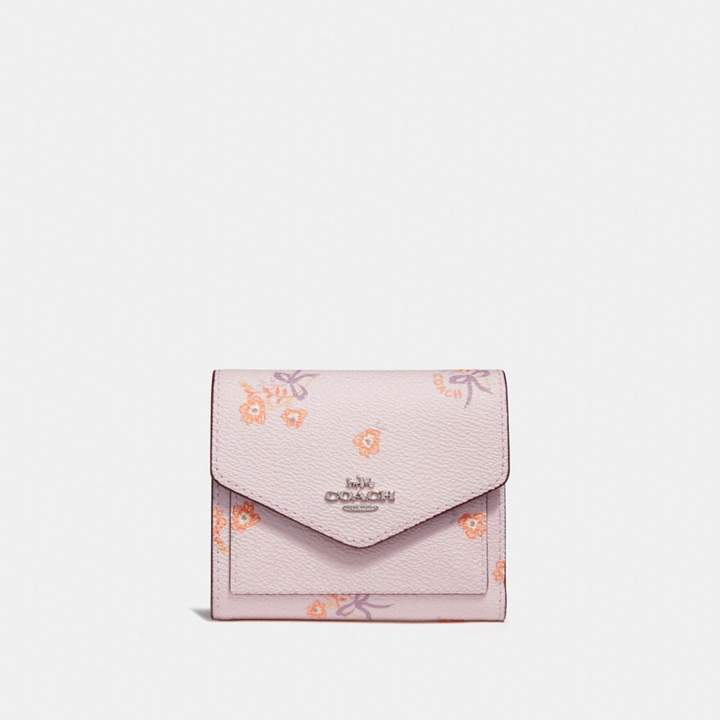 Coach New YorkCoach Small Wallet With Floral Bow Print - ICE PINK FLORAL BOW/SILVER - STYLE