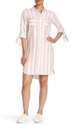 Sharagano Striped High/Low Shirt Dress