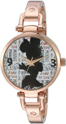 Disney Minnie Mouse Women's Rosegold Alloy Bridle Watch, Rosegold Alloy Bracelet, W002815