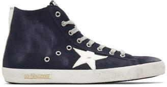 Golden Goose Navy and White Francy Sneakers