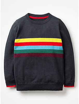 Boden Mini Boys' Rainbow Stripe Jumper, Navy