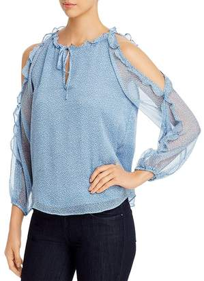 1 STATE 1.STATE Mosaic Ditsy Ruffled Cold-Shoulder Top