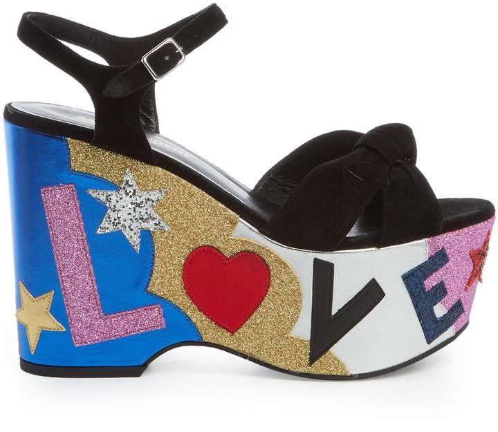 SAINT LAURENT Candy Love-appliqué suede platform sandals