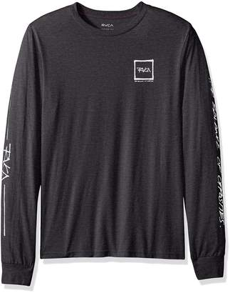 RVCA Young Men's Scrawl Long Sleeve Tee Shirt, -Warm Grey, M
