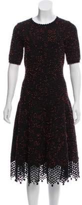 Lela Rose Short Sleeve A-Line Dress Black Short Sleeve A-Line Dress