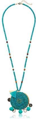Panacea Turq Beaded Medallion Pendant Necklace