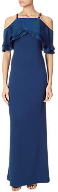 Adrianna Papell Cold Shoulder Popover Beaded Dress, Sapphire