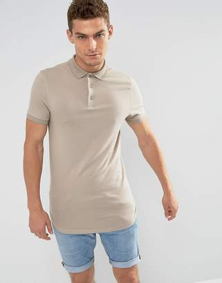 BEIGE Asos Design ASOS Longline Muscle Polo with Bound Curved Hem In