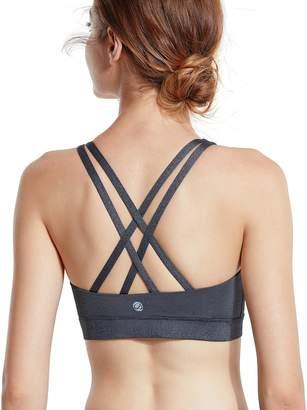 CRZ YOGA Women's Removable Pads Yoga Top Cross Strappy Back Sports Bra L