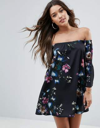 Asos DESIGN Off Shoulder Dress with Bell Sleeve in Dark Based Floral Print