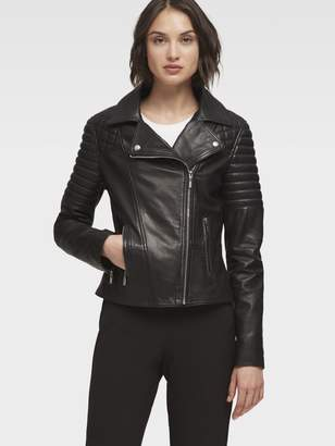DKNY Leather Jacket With Quilted Shoulder