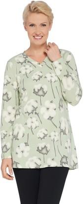 Denim & Co. Printed Brushed Heavenly Jersey Long-Sleeve V-Neck Tunic